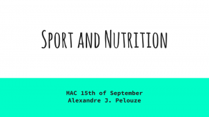 Sport and Nutrition